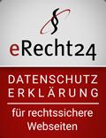 eRecht24 Siegel für eine rechtssichere Datenschutzerklärung
